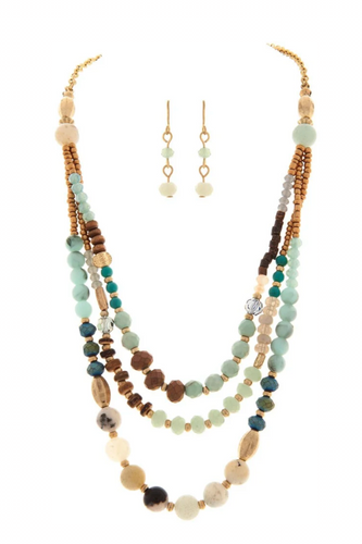 Gold Chain Layered Natural Brown Blue Green Three Layer Bead