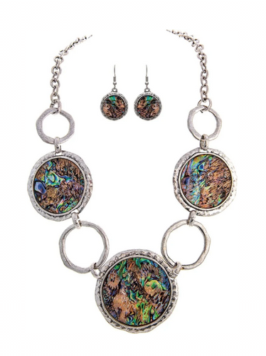 Oxidized Silver Chain Link Large Round Abalone Shell Discs Statement Necklace Set with Round Abalone Wire Earring
