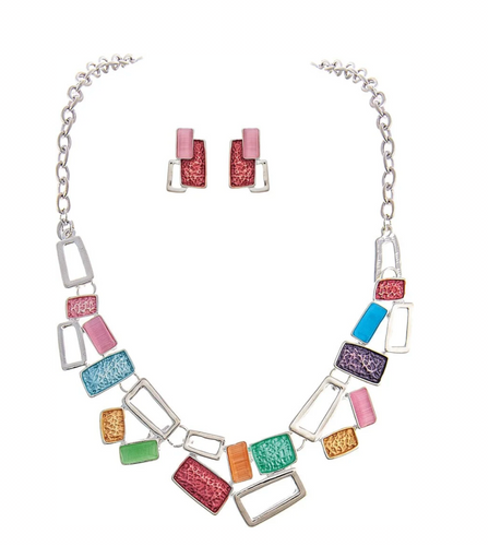 Bright Silver Pastel Pink Green Blue and Orange Colorwash Abstract Rectangles Bib Style Necklace Set with Pink Enamel Layered Squares Post Earring
