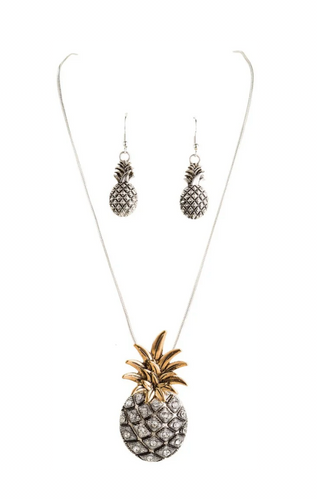 Gold Top Silver Oxidized Details Pineapple Pendant on Chain Necklace Set