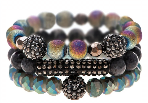 Sparkle Hematite and Sparkle Rainbow Coated Glass Bead Three Piece Stackable Beaded Bracelet Set