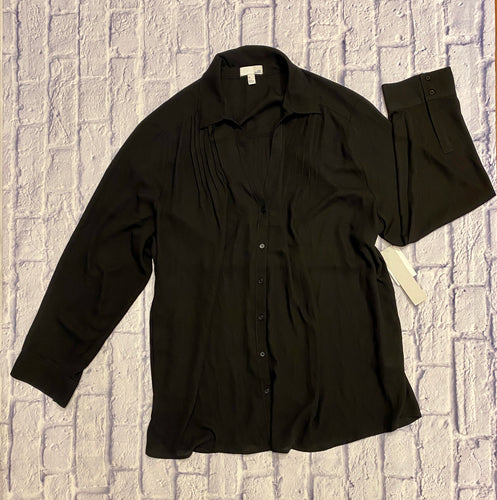 14th & Union black sheer blouse with button up front and pleated breast and back detail.