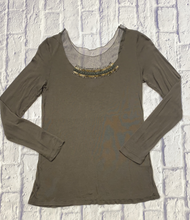 Load image into Gallery viewer, Simply Vera olive green long sleeved jersey lightweight top with sequin and mesh neckline detail.