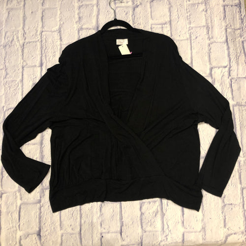 Bellino black faux wrap top, jersey knit, super soft.  Long sleeves with banded waist.