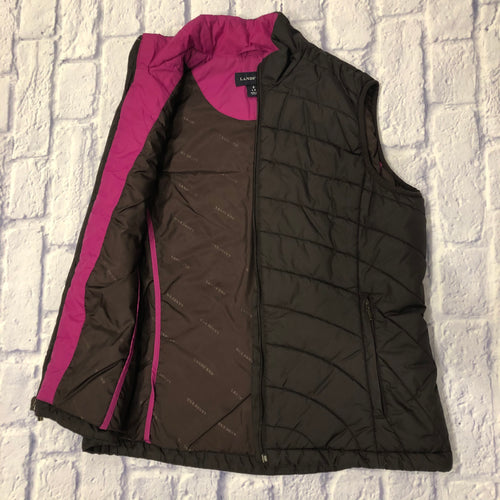 Land's End black quilted vest with hot pink accent lining.  Two side pockets and zip closure.