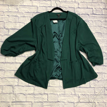 Load image into Gallery viewer, Torrid blazer in forest green.  Super stretchy! Two side pockets and green satin lining.  Like new!