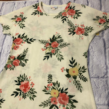 Load image into Gallery viewer, Lularoe cream Maria maxi dress with pink and yellow floral pattern.  New with tags.
