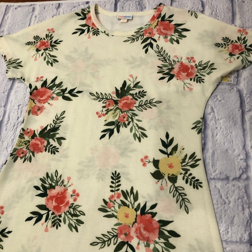 Lularoe cream Maria maxi dress with pink and yellow floral pattern.  New with tags.