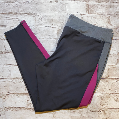 Everlast active leggings in black with grey waistband and hot pink racing stripe.