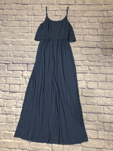 Lauren Conrad blue/grey pleated maxi dress with spaghetti straps and a-line hem.