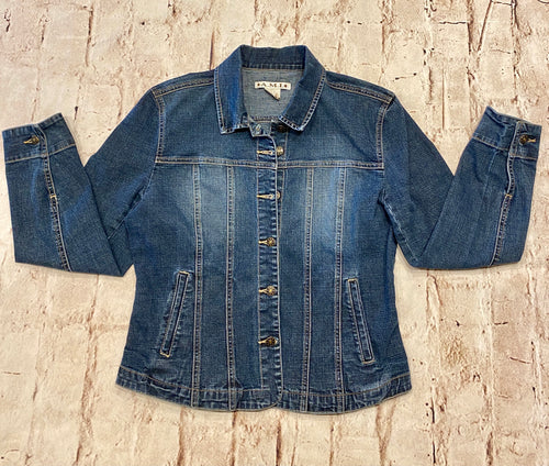 A.M.I blue denim fitted jacket with faded chest and back.