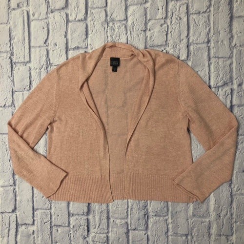 Eileen Fisher blush colored cardigan from soft linen.  Open front with ribbed bottom hem.