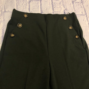 BBJ Los Angeles high waisted army green wide legged stretchy waist trouser with military-style button side pockets.