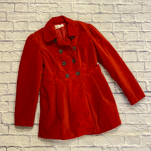 Load image into Gallery viewer, Xhilaration red fitted velvet peacoat with grey buttons.  So cute!