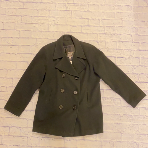 J Percy black peacoat with black buttons and two front pockets.