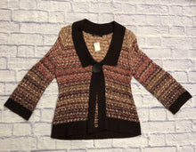 Load image into Gallery viewer, This is a gorgeous one button cardi by Nic + Zoe. In perfect condition. 100% cotton, lots of stretch.  Dark brown with shades of orange and pink.  So cute!