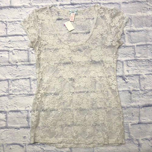 Downeast white lace top, very stretchy, soft lace.