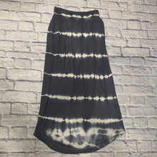 Load image into Gallery viewer, Victoria Secret black and white tie-dye ribbed knit maxi skirt.  Elastic waistband.  Very soft and stretchy.