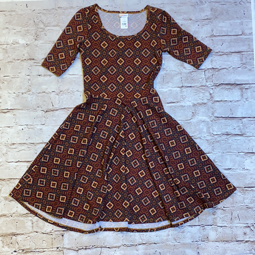 Lularoe rust colored dress with mustard and purple square pattern.  New without tags.