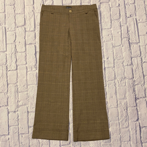 Wet Seal tan wide leg cuffed trousers in slight plaid pattern with button belt loop detail and button and zip closure.  Two side pockets.