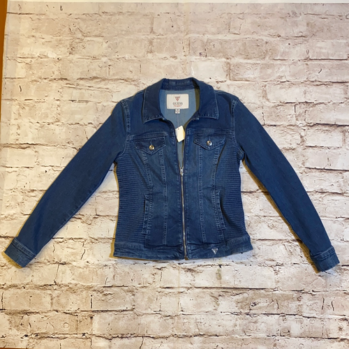 Guess dark wash denim moto style jacket.  Stretchy, like new.