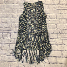 Load image into Gallery viewer, Xhilaration navy blue and white open crochet vest with fringe bottom detail.
