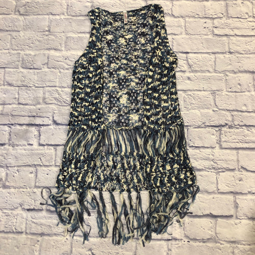 Xhilaration navy blue and white open crochet vest with fringe bottom detail.