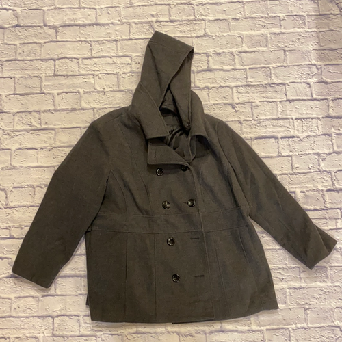 Style & Co grey peacoat with black buttons and hood.