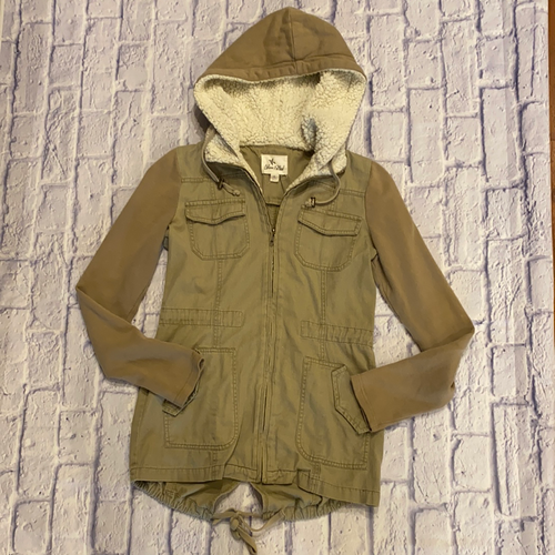 Others Follow tan anorak Sherpa lined hooded coat with tie waist and back hem.
