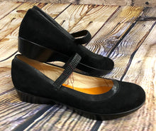 Load image into Gallery viewer, Suede slip-on sandals with elastic strap.  Brand new.