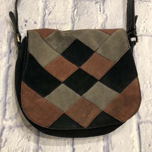 Brampton London suede patchwork crossbody bag in black, pink, and tan.  Black cotton lining, leather black strap.