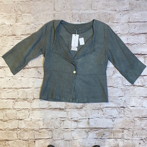 Viola Borghi green/grey linen jacket with 3/4 sleeves and one button front closure.  New with tags.