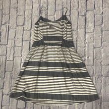 Load image into Gallery viewer, Old Navy grey and white striped cotton sundress with spaghetti straps.  NWT.