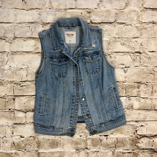 Mossimo Distressed Denim Vest in light wash.  Size M.