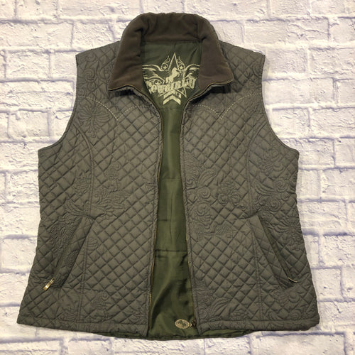 Cowgirl Up quilted vest in olive green.  Soft felt collar, two side zip pockets, and solid olive green satin interior lining.  Embroidered detail throughout.  Like new!
