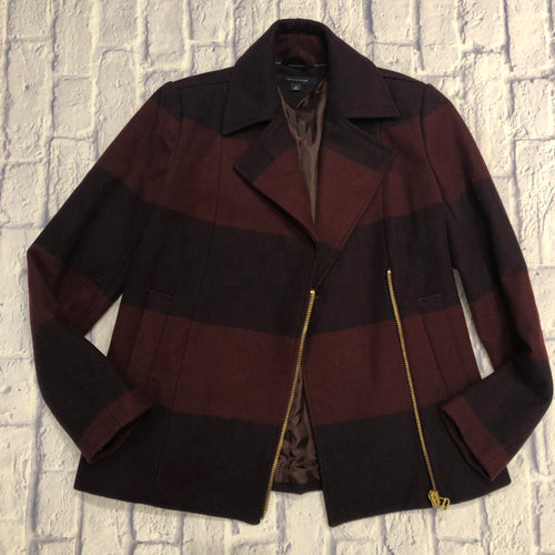Tommy Hilfiger maroon plaid wool moto style peacoat with gold zipper hardware and two side pockets.  Brown sating lining.