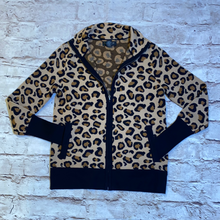 Load image into Gallery viewer, Rachel Zoe cheetah print front zip cardigan with pockets.  NWOT.