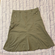 Load image into Gallery viewer, Fashion Bugs lightweight olive cargo skirt with front, back, and side pockets.