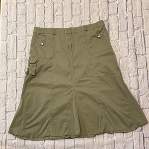 Fashion Bugs lightweight olive cargo skirt with front, back, and side pockets.