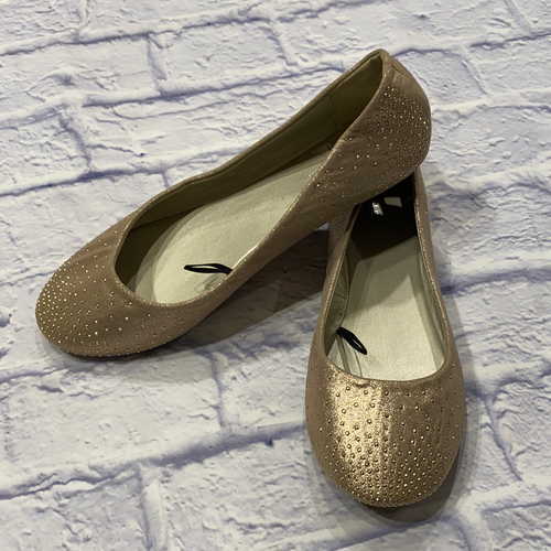 Madeline Stuart metallic gold ballet flats with tiny stud detail.