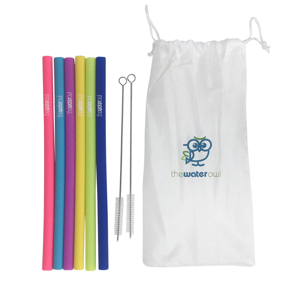 6 Pack - Reusable Silicon Straws from the Water Owl with Cleaning Brushes and Cloth Carrying Case