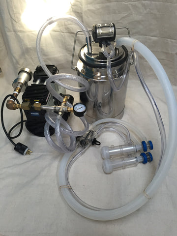 Complete Mini-Milking Machine for Goats/Sheep/Nigerian Dwarf w/ Welch 2858B-01 Vacuum Pump - Affordable Milkers LLC  - 1