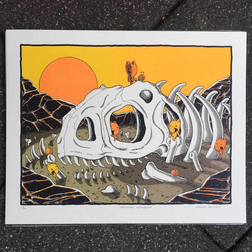 prehistoric playground screen print (16x20)