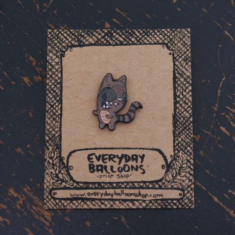 raccoon enamel pin