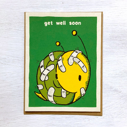 snail with bandaids get well soon card