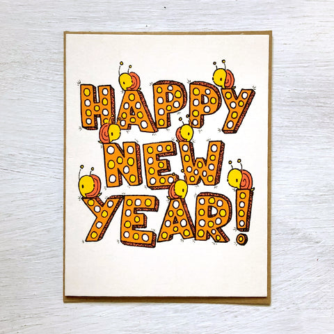 happy new year snails card
