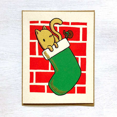 kitty stocking holiday card