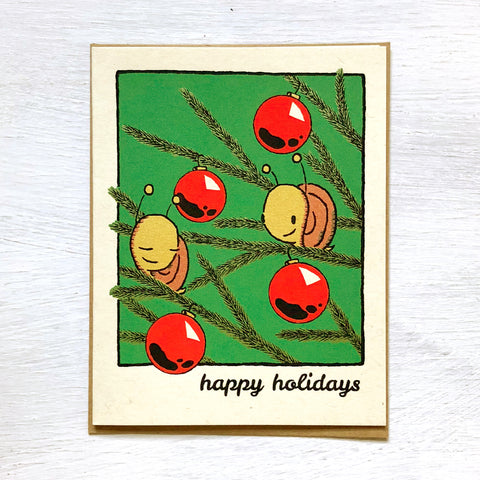snails and ornaments holiday card