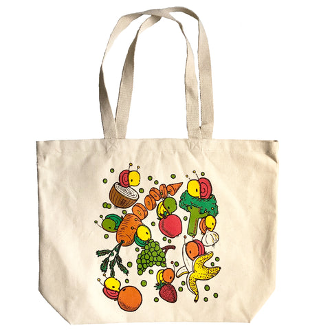 fruits and veggies grocery tote bag