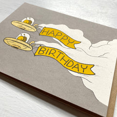 snail spaceship birthday card